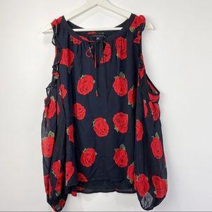 Sanctuary black w/red flowers cold shoulder blouse